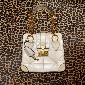 MARC JACOBS Tan Leather Quilted Handbag Gold CHAIN